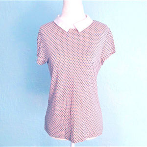ANN TAYLOR Top, Peter Pan Collar, Keyhole in Back